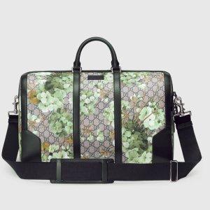 Gucci Boston Tasche, GG Supreme, Blumen Motiv in Grün