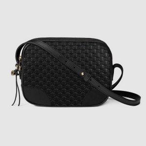 Gucci Bree Tasche, Microguccissima, Schwarz, Leder, G Charm