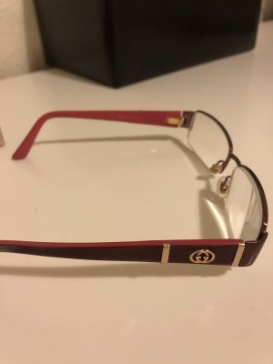 Gucci Brille Brillengestell rot gold pink