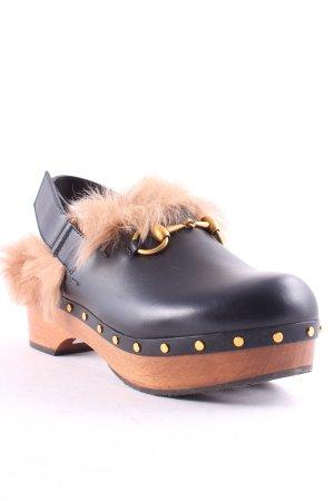 Gucci Clog Sandalen schwarz-braun extravaganter Stil
