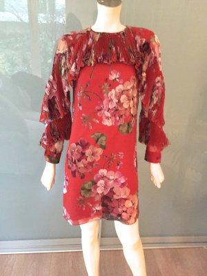 Gucci Cocktail Kleid Rot 34 XS Rüschen Seide Geblümt Floral Silk Mini Dress Red