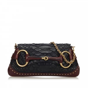 Gucci Crocodile Leather Horsebit Chain Baguette