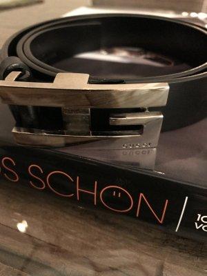 Gucci Damen-Gürtel in Schwarz mit silberner Schnalle