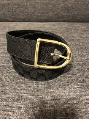 Gucci Cinturón de tela negro-color oro
