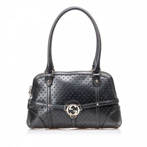 Gucci Double G Canvas Leather Handbag