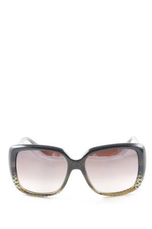 Gucci eckige Sonnenbrille schwarz-goldfarben Elegant