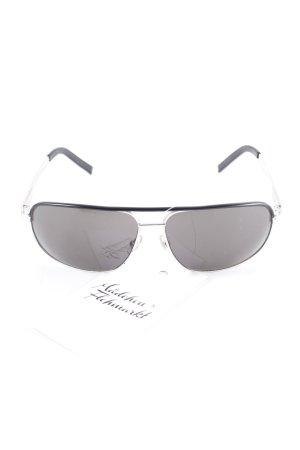 Gucci eckige Sonnenbrille schwarz-silberfarben Logoprägung