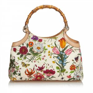 Gucci Flora Bamboo Handle Handbag