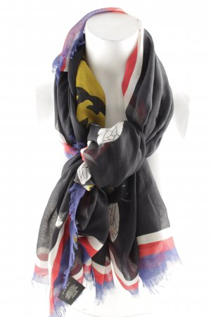 "Gucci Fringed Scarf ""Tiger Print Modal Silk Shawl Black"""