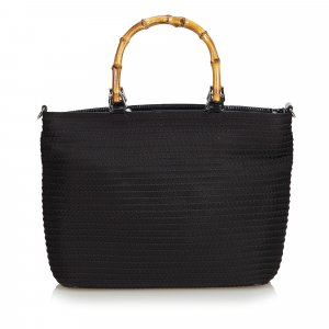 Gucci Fringed Nylon Bamboo Handbag