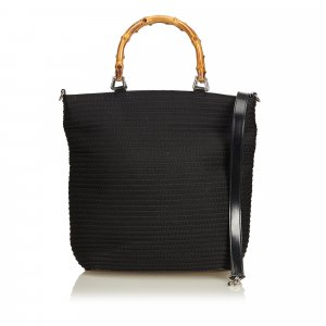Gucci Fringed Nylon Bamboo Satchel