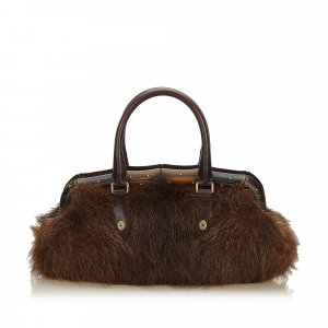 Gucci Handbag dark brown fur