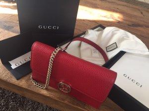 Gucci Borsa a spalla rosso scuro-oro