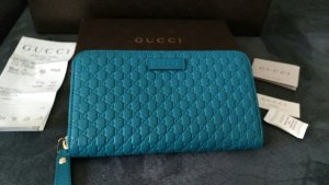 Gucci Wallet neon blue leather