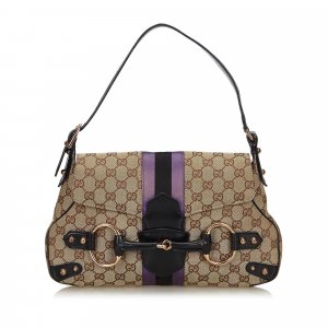 Gucci GG Canvas Horsebit Shoulder Bag