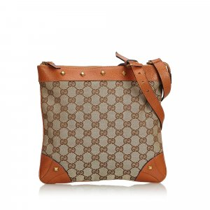 Gucci GG Canvas Nailhead Crossbody Bag