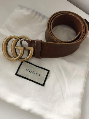 Gucci Leather Belt brown-gold-colored