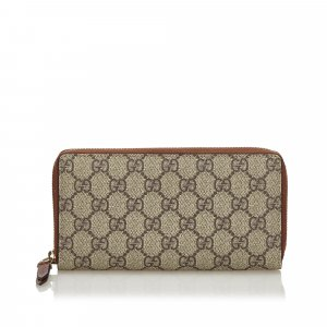 Gucci GG Supreme Zip Around Long Wallet