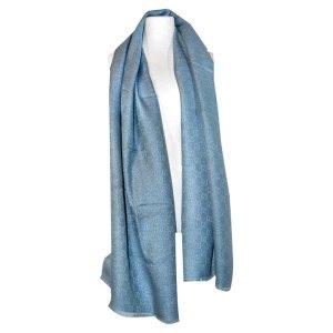 Gucci Glitter Schal in Blau und Silber aus Seide und Kaschmir