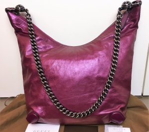 "* GUCCI * große HOBO BAG "" GALAXY "" LEDER magenta metallic Kette Crossboy leather shoulder"
