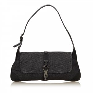 Gucci Shoulder Bag dark grey cotton