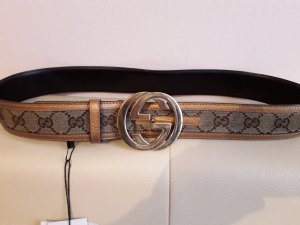 Gucci Leather Belt grey brown-primrose leather
