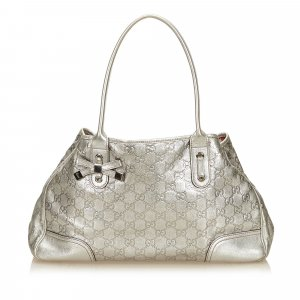 Gucci Tote silver-colored leather