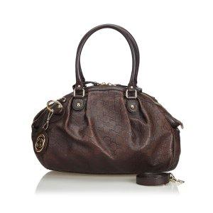 Gucci Satchel dark brown leather