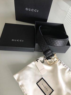 GUCCI Guccissima NEU Leder Gürtel schwarz 90cm