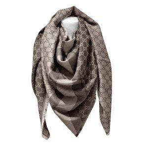 Gucci Châle brun foncé-marron clair laine