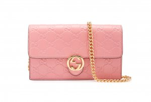 Gucci Guccissima Wallet on chain Tasche Kettenriemen rosa Pink Top Marmont