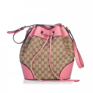 Gucci Guccissima Web Canvas Drawstring Bucket Bag
