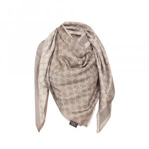 Gucci Gucissima Tuch aus Seide und Wolle in Beige