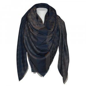 Gucci Châle brun-bleu foncé laine