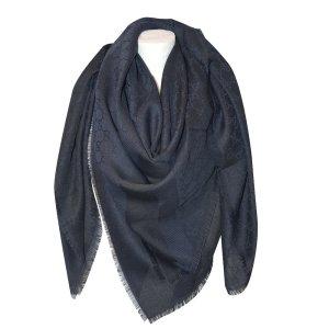 Gucci Gucissima Tuch aus Seide und Wolle in Blau/Schwarz