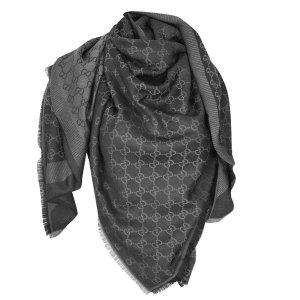 Gucci Gucissima Tuch aus Seide und Wolle in Dunkelgrau/Grau