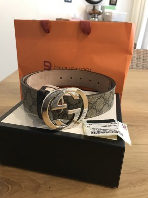 Gucci Leather Belt beige-silver-colored