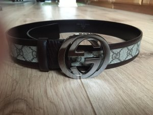 Gucci Leather Belt black brown-cream
