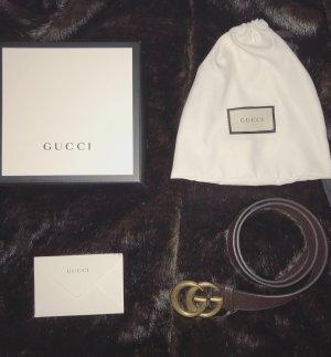 Gucci Cinturón de cuero marrón-negro-color oro