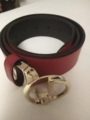 Gucci Cintura di pelle nero-rosso