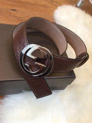Gucci Gürtel 85cm Braunes guccissima Leder