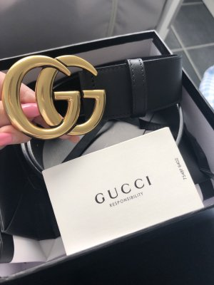 Gucci Leather Belt black-gold-colored