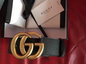 Gucci Lederen riem goud-zwart