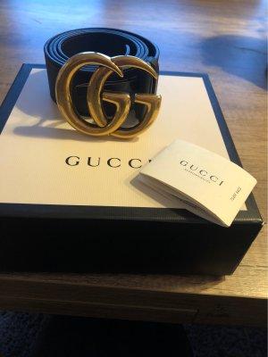 Gucci Ceinture en cuir doré-noir