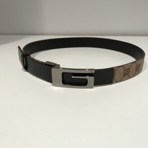 Gucci Canvas Belt taupe-grey brown leather