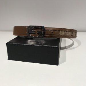 Gucci Cintura in tela beige-marrone-grigio Pelle