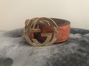 Gucci Gürtel Cognac Leder Top GG Interlocking Luxus