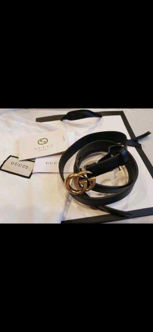 Gucci Lederen riem zwart-goud