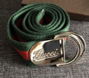 Gucci Cinturón de tela verde bosque-rojo oscuro