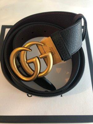 Gucci Ceinture en cuir noir-brun foncé